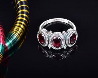 Garnet Ring Garnet Jewelry Silver Garnet Ring Natural Gemstone Garnet Ring Size 6,7,8,9  925 Sterling Silver January Birthstone Wedding Ring