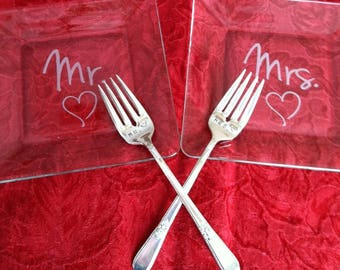 Mr. and Mrs. Etched Glass Dessert Wedding Cake Plates with matching Hand Stamped Silver Plated Forks Wedding Shower Photo Prop