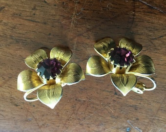 Vintage Amethyst Rhinestone Flower Earrings