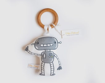 Organic Robot 1 Rattle - Robot Toy - Baby Rattle / Baby Gift / Natural Wood Rattle / Wood Toy / Baby Toy / Baby Shower Gift / Montessori