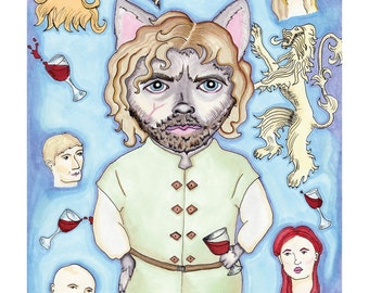 Tyrion Lannister of Cat-erly Rock 8 x 10 Giclee Print // Television Art // Mother's Day Mom Father's Day Dad Hipster //