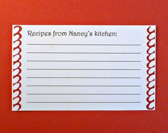 25 recipe cards gift cards wedding gifts 3x5 cards personalized recipe cards with borders bridal shower gift white cards from the kitchen of