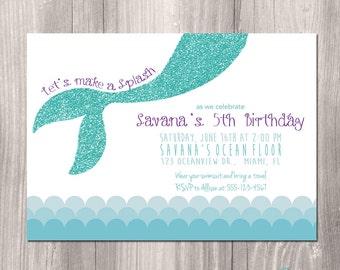 Mermaid Birthday Invitation  - Little Mermaid Invitation - Under the Sea Birthday Pool Party Invitation - Printable Mermaid Invitation