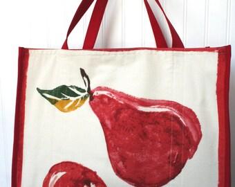 Red Pear Shopping Bag - Cloth Farmers Market Bag - Winter Fruit