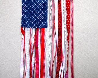 Ribbon and Rag U.S. Flag Rustic Wall Hanging 4th of July Decoration