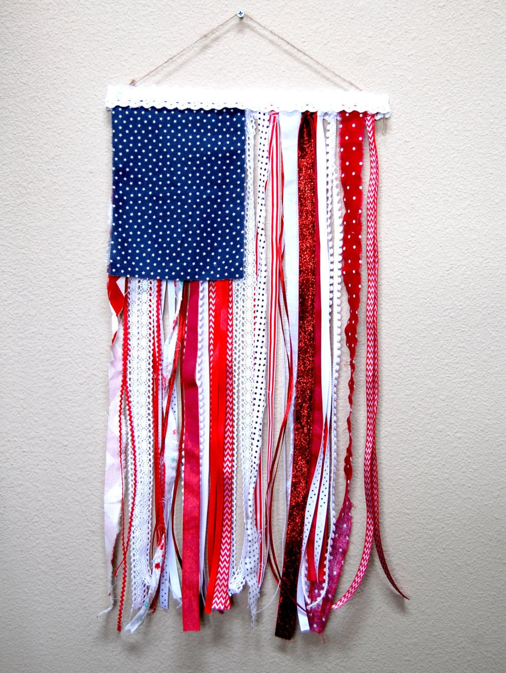 Ribbon And Rag U S Flag Rustic Wall Hanging 4th Of July