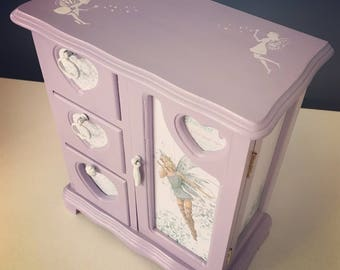 Purple fairy jewelry box -vintage upcycled