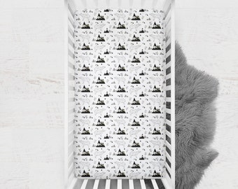 Polar Bear Crib Sheet, Geometric Crib Sheet, Minky Crib Sheet, Minky Baby Bedding, Fitted Crib Sheet, Monochrome Baby Bedding, Bear Bedding