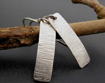 Hand Forged Sterling Silver Textured Paddle Dangle Earrings