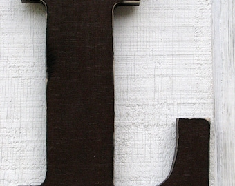 """Rustic Wooden Letter L Distressed in Dark Chocolate,12"""" tall Solid Wood Name Letters, Custom Made Any Letter and Color"""