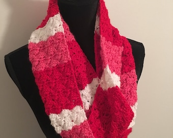 Red, pink, and white Valentine's infinity double wrap scarf