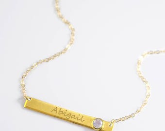June Birthstone Necklace, Nameplate Necklace, Personalized Name Necklace, Rainbow Moonstone Necklace, Gemstone  Bar Necklace custom name bar