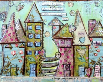 Art Print of Houses, Art Poster, Art for House Warming Gift, Art for Gifting, Art for Kids, Home is the Place