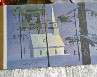 Vintage Christmas Card - Ralph Hulett Christmas Eve Church  - Used Mid Century