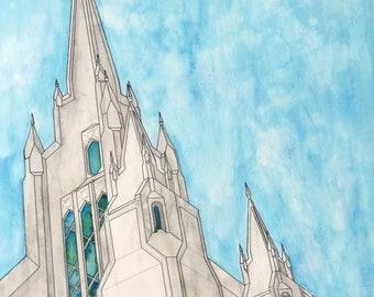 San Diego LDS Temple Original Watercolor Painting