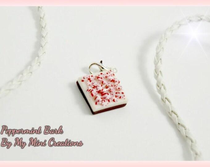 Peppermint Bark Neclace, Polymer Clay, Miniature Food, Miniature Food Jewelry