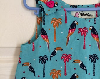 Tropical bird pinafore, turquoise, parrot and toucan dress, girls pinafore dress, summer pinafore, toddler dress, girls birthday gift