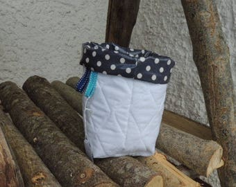 Coated fabric and quilted Organizer Navy with white polka dots