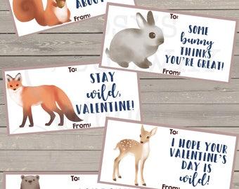 Woodlands Valentines, Animal valentines, Stay wild valentine, Valentine's Day, classroom valentines, forest animals valentines