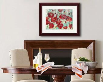 FLORAL PRINT | modern Red poppy flower art | mixed media art | collage art | red home decor | turquoise blue green metallic gold shimmer
