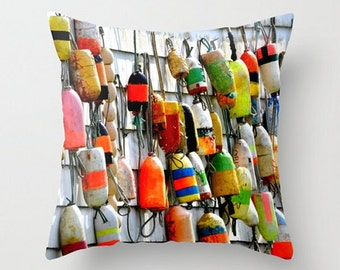 Colorful Fishing Floats, Fine Art Photography, Throw Pillow Cover, Port Washington State, Water, Nautical, Ship Buoys, Rustic Accent Cushion