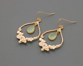 Gold Chandelier Earrings. Mint Green Earrings. Dangle Earrings. Bridal Jewelry. Bridesmaid Earrings. Everyday Earrings.Gift for Her