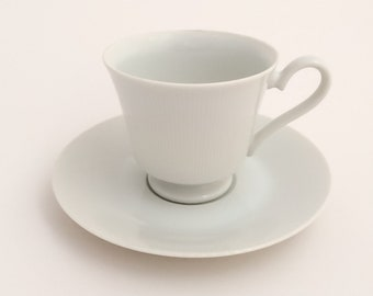 White Vintage Teacup and Saucer—Ascot by Fine China of Japan