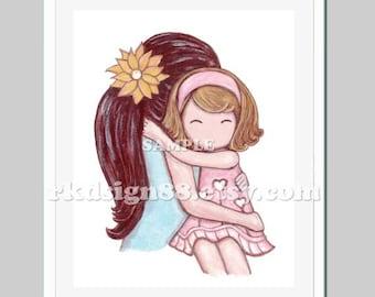 You are my sunshine baby girl nursery art print, nursery decor, girl room decor, kids wall art, brown hair mom, blonde hair daughter 8x10