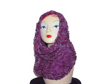 Hand knitted wool snood neck