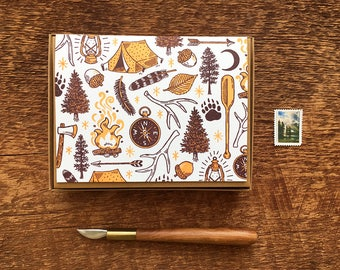 Explore Card, Camping Outdoors Card, Boxed Set of 8 Letterpress Folded Note Cards, Blank Inside
