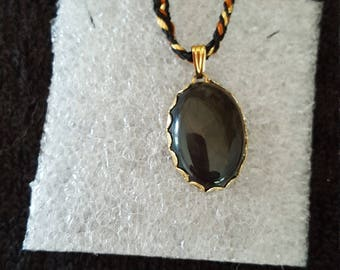 Obsidian Mahogany Pendant with Handmade Threaded Necklace