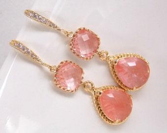 Coral Earrings, Glass Earrings, Gold Earrings, Cubic Zirconia, Bridesmaid Jewelry, Wedding Jewelry, Bridesmaid Earrings, Bridesmaid Gifts