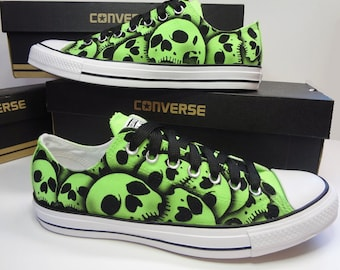 RokGear unique hand painted Skull Converse oxfords Skull shoe
