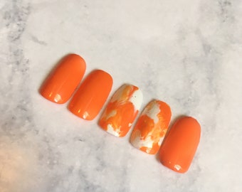 Orange and White Watercolor Nails!