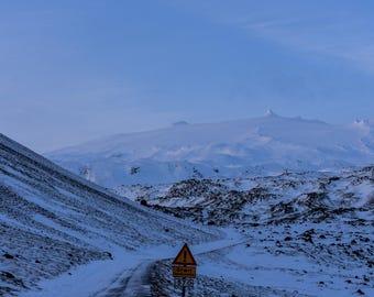 Treacherous Snowy Mountain Road