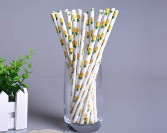 Pineapple Paper Straws, Birthday Straws, Party Straws, Birthday, Bulk, Drinking Straws, Baby Shower, Bridal, Bride To Be