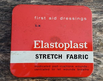 VINTAGE Red Elastoplast Stretch Fabric First Aid Dressing Tin with Plasters