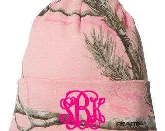Monogrammed Pink Camo Beanie/Monogrammed Toboggan/Monogrammed Knit Hat/Monogrammed Winter Hat/Christmas Gifts/Personalized Gifts