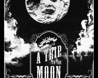 Vintage A Trip To The Moon Poster Illustration Georges Méliès Giclee on Cotton Canvas and Satin Photo Finish