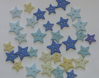 Buttons / 30 plus star buttons bright blue yellow / 0.5 inch to 0.75 inch