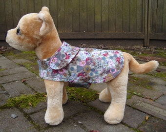 Dog Jacket - Floral Corduroy Coat- Size XX Small- 7 Inch Back Length