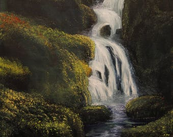 Mossy Waterfall Original Oil Painting on Canvas
