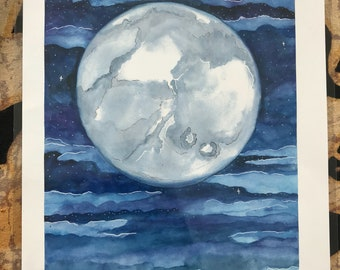 Moon Watercolor Print