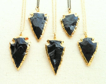 Obsidian necklace gold edged obsidian arrowhead necklace gold dipped arrowhead jewelry boho jewelry stone arrowhead mens gift