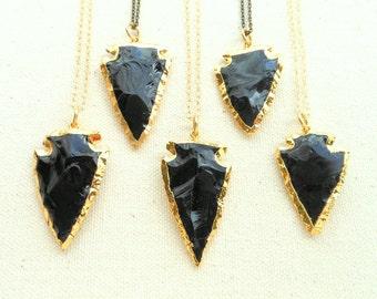 Obsidian Halskette gold umrandet Obsidian Pfeilspitze Halskette gold getaucht Pfeilspitze Schmuck Boho Schmuck Stein Pfeilspitze Herren Geschenk