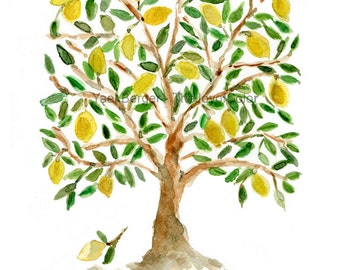 Art Print The Lemon Tree, Folk Art inspired, print of watercolor painting, green, brown and yellow, second open editon, Mediterranean