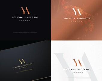 Custom Monogram,Rose Gold Foil Logo,Blog,Fashion Logo,Photography Logo,Watermark,Minimal,Real Estate,Initials,Interior Design Logo,Monogram,