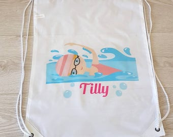 Swimming bag swim bag wet bag drawstring bag drawstring backpack school bag gym bag sports bag pool party PE bag personalised bag beach tote