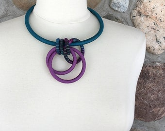 Textile Collar Necklace Teal Lavender