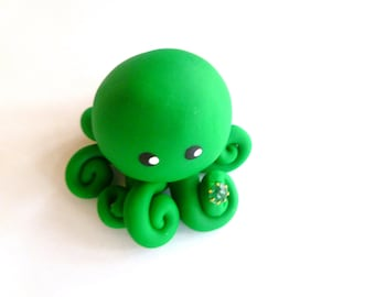 Birthstone  Little Octopus Mini Marble Friend in Birthday Month of May Emerald Green with Faux Gemstone